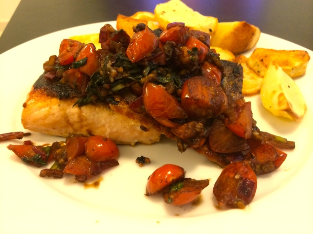 Bruschetta Salmon with Roast Potatoes