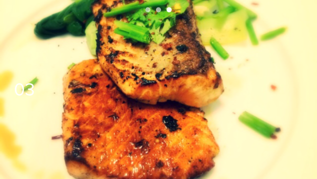 Asian glazed salmon with steamed greens